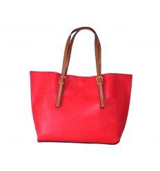 Bolso shopper rojo con asas regulables camel