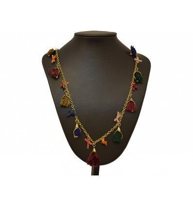 Collar dorado doble flecos multicolor